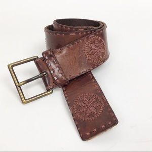 BOHO Brown Leather Belt Embroidered